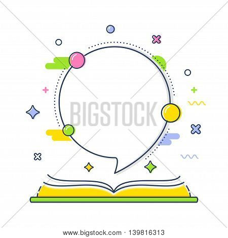 Open Book with Space or Speech Bubble for Quote. Vector Line Illustration or Presentation Layout