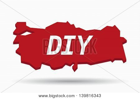 Isolated Turkey Map With    The Text Diy