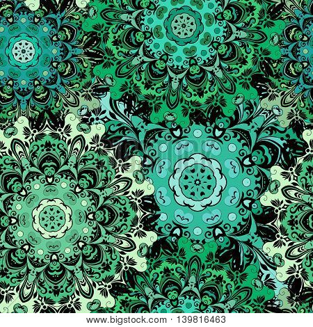 Oriental seamless pattern with eastern floral orament. Emerald green colored design in aztec, turkish, pakistan, indian, chinese, japanese style. Vector art background, wrapping paper.