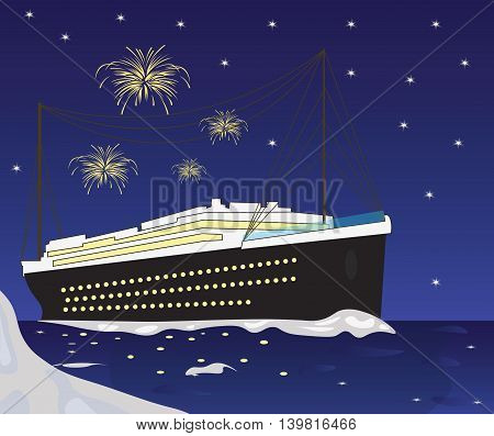 Cruise Ship boat and fireworks Vector illustration