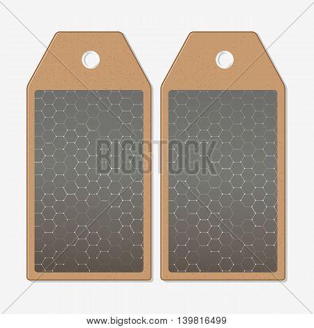 Vector tags design on both sides, cardboard sale labels. Chemistry pattern, hexagonal design vector illustration
