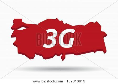 Isolated Turkey Map With    The Text 3G