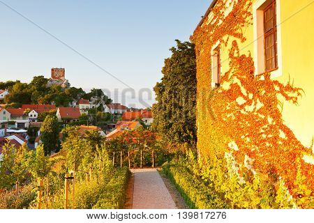 Buildings in the palace complex in the historic town of Mikulov in Moravia, Czech Republic.