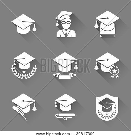 Education and school icons. Set of 9 colored flat vector icons with long shadows
