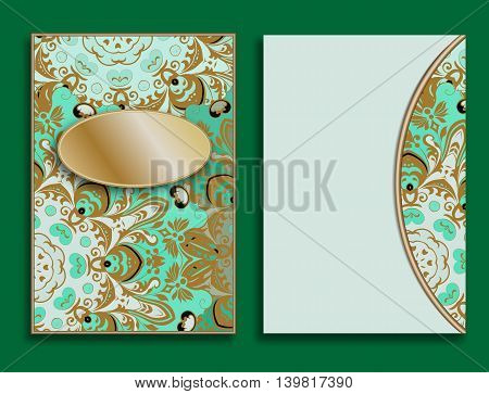 Card or invitation in oriental style with mandalas ornament. Islam, Arabic, Indian, ottoman motifs in green and gold colors. Form or blank decorated with flowers.