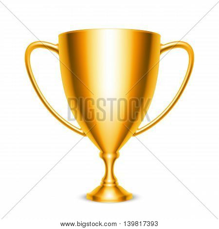 Golden trophy cup icon isolated on white background. Vector illustration
