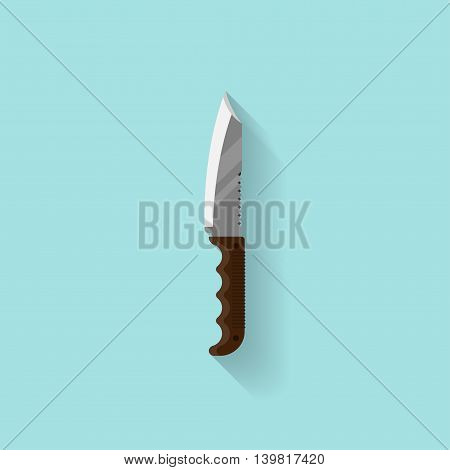 Knife in a flat style. Camping, travel, surviving Vector illustration