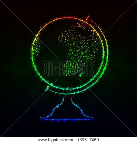 Globe Illustration Icon, Gradient Color Lights Silhouette on Dark Background. Glowing Lines and Points