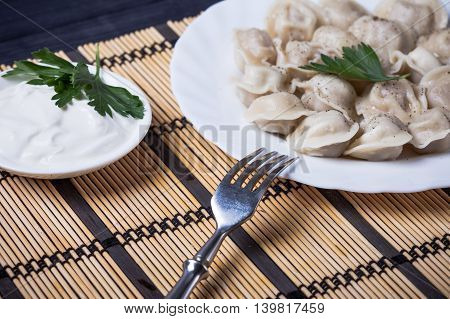 hot dumplings on the table close up