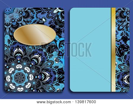 Card or invitation in oriental style with eastern floral mandalas ornament. Islam, Arabic, Indian, ottoman, chinese, japanese motifs in gold and deep blue colors. Vector art.