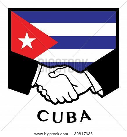 Cuba flag and business handshake, vector illustration