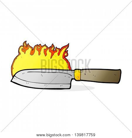 cartoon kitchen knife on fire