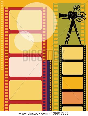 Vintage Abstract color cinema background, vector illustration