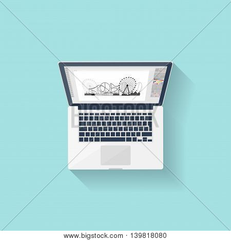 Digital drawing. Personal computer, laptop. Graphics and web design. Flat style. Vector illustration