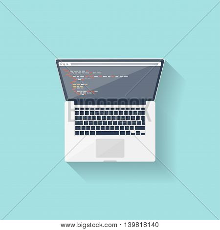 Programming and coding online. Flat style. Web courses. Internet ui design. App development