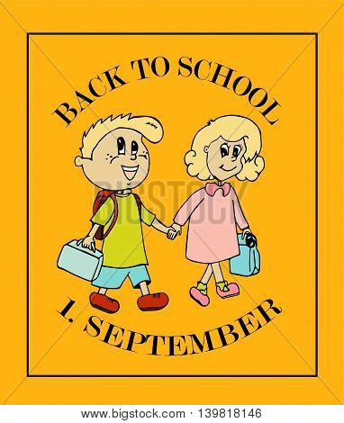School background with 1. September and kids going to school