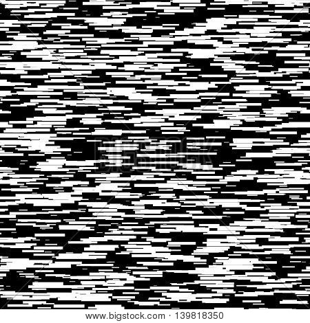 Abstract background with glitch effect, distortion, seamless texture, random horizontal black and white lines for design concepts, posters, banners, web, presentations and prints. Vector illustration.