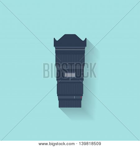 Photography. Photo camera lens in a flat style with lens. Photoshooting.Photographing equipment.Vector illustration