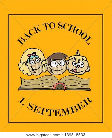 School background with 1. September and kids