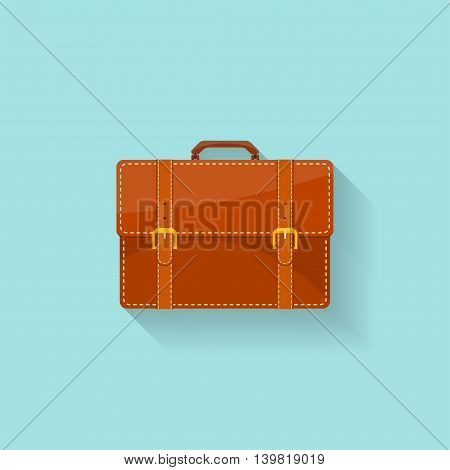 Business briefcase in a flat style. Suitcase, bag for documents. Vector illustration