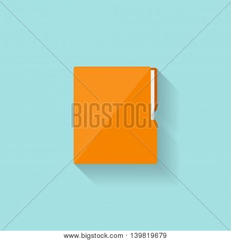 Folder with papers in a flat style. Vector illustration