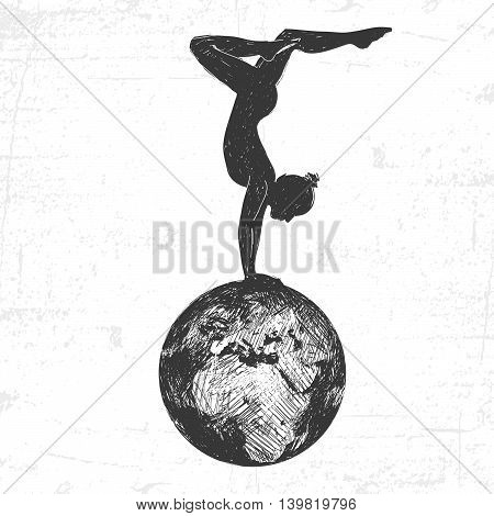 Girl gymnast on the earth. Drawn in a graphic style.