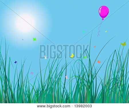 Vector illustration of grass background with balloon for design usage