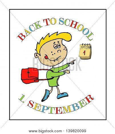 Back to school background with 1. September and kid
