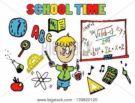 Back to school background with school elements and kid