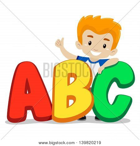 Vector Illustration of Little Boy Standing behind ABC