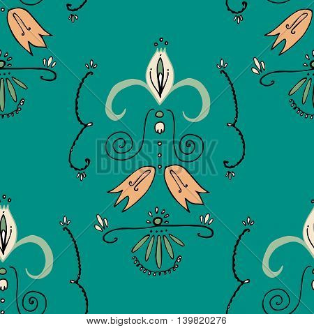 Hand drawn graphics, vector eps 10. Seamless pattern with light orange bellflowers and curly lines on green background. For prints, designs, fabric.