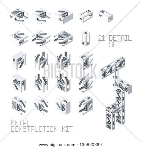 Vector Metal Construction Set In Isometric Style