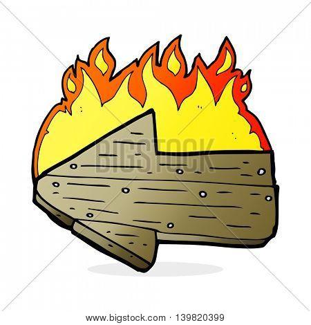 cartoon burning direction arrow