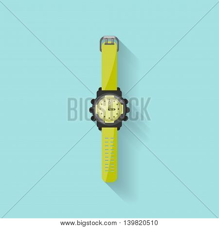 Watch in a flat style. Clock and time. Vector illustration