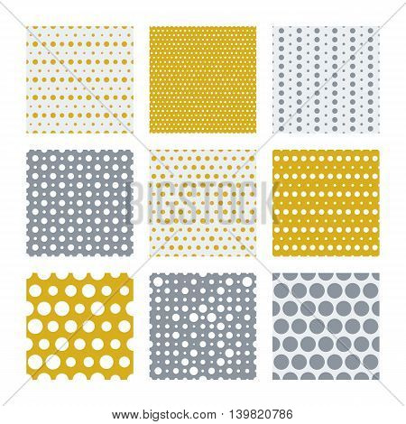 Dotted texture collection, vector seamless patterns. Tileable simple texture seamless pattern. Gold and silver dots vector seamless pattern