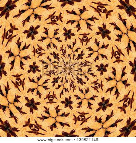 Abstract decorative brown texture - kaleidoscope pattern