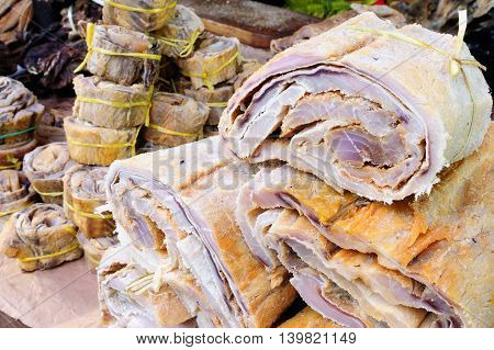 South America Dried fish on the market in the Iquitos major city in Amazonia Peru
