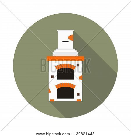 flat icon fireplace brick oven in vector format eps10