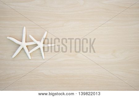 Two beautiful star fish on wooden background