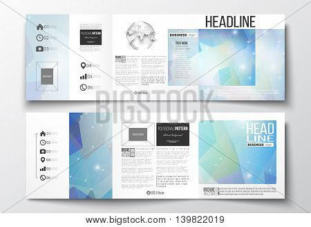 Vector set of tri-fold brochures, square design templates with element of world globe. Abstract colorful polygonal background, modern stylish triangle vector texture.