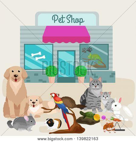 Pet shop. Pets accessories and vet store vector illustration