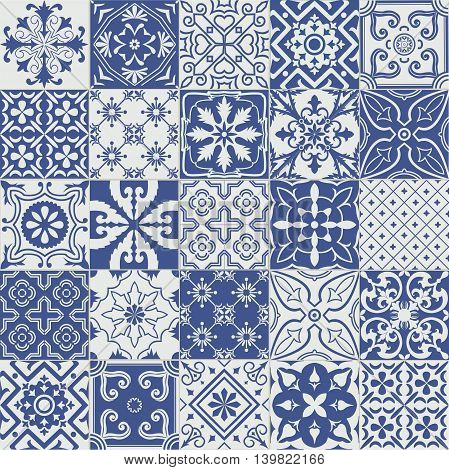 Big vector set of blue tiles background. For  backgrounds decoration for your design ceramic page fill and more.