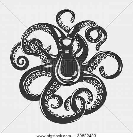 Cartoon black octopus with curved arms and suction cups on it, feeding tentacle. Spineless squid or underwater cuttlefish, scary mollusk and swimming cephalopod. For mascot or emblem, tattoo theme