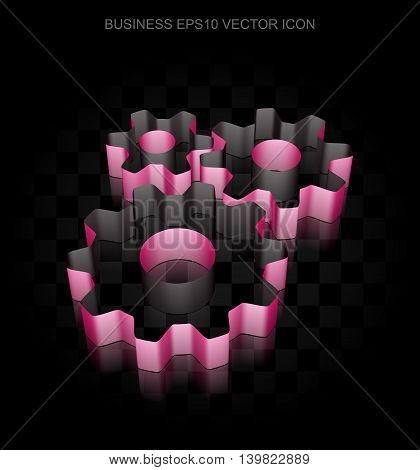 Finance icon: Crimson 3d Gears made of paper tape on black background, transparent shadow, EPS 10 vector illustration.