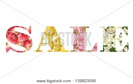Vector summer sale banner with fruits and flowers. Design for natural cosmetic perfume fashion juice tea farmers market.