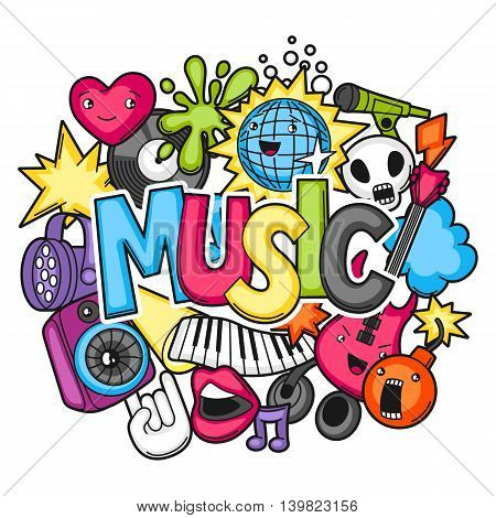 Music party kawaii design. Musical instruments, symbols and objects in cartoon style.