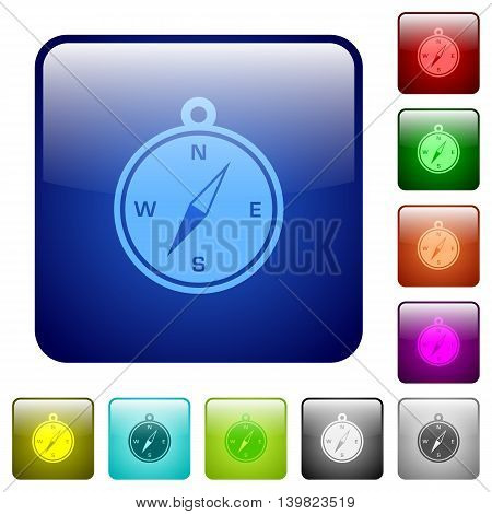 Set of compass color glass rounded square buttons