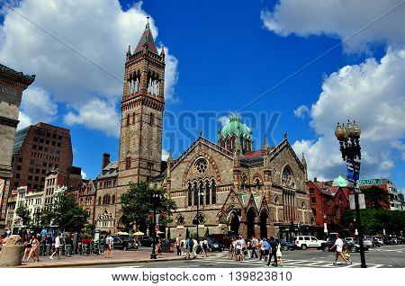 Boston Massachusetts - July 14 2013: Old South Church built in neo-Romanesque style on the north side of Copley Square on Boylston Street *