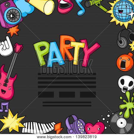 Music party kawaii background. Musical instruments, symbols and objects in cartoon style.