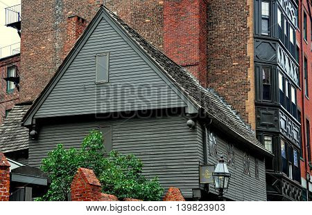 Boston Massachusetts - July 13 2013: The Paul Revere house built in 1680 is the oldest house in the city of Boston